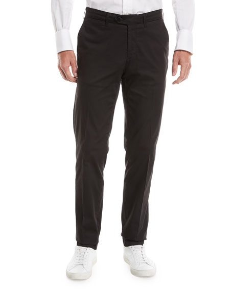 Canali Men's Luxury Stretch Flat-Front Pants