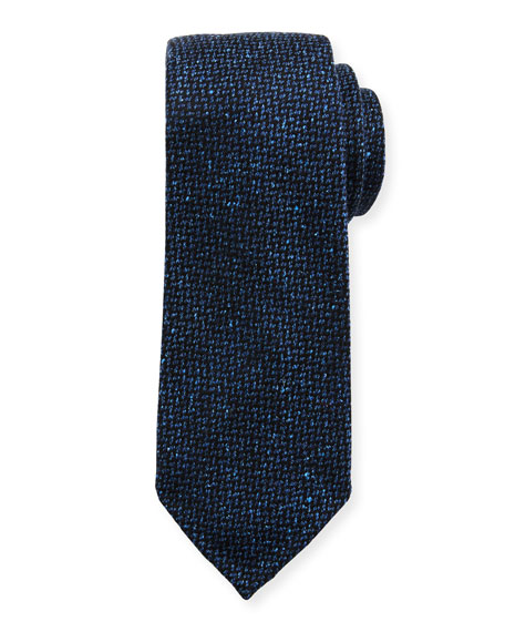Men's Crowsfoot Wool/Silk Tie, Blue