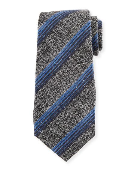 Variegated Stripe Wool/Silk Tie, Gray