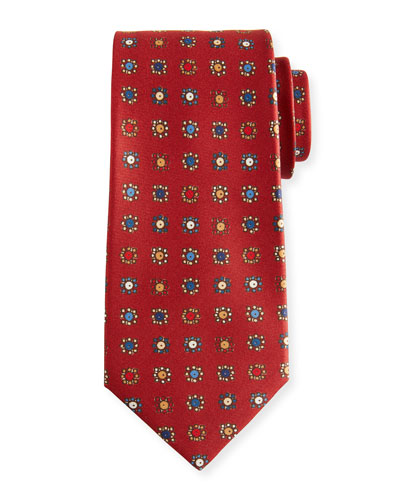Circle in Box Silk Tie, Red