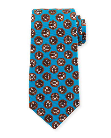 Kiton Circle Medallion Silk Tie, Blue