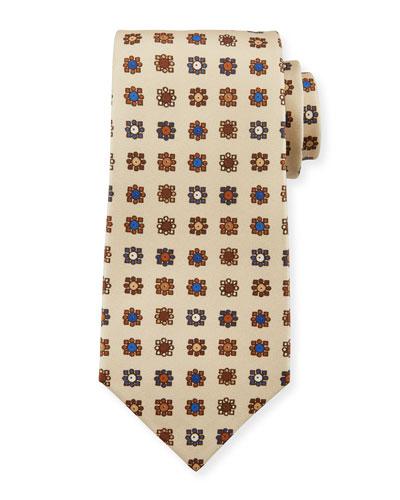 Circle in Box Silk Tie, Beige