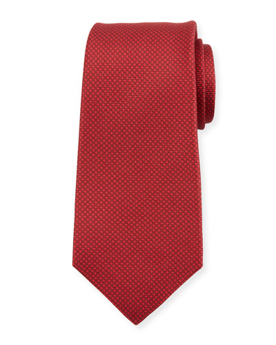 Micro Houndstooth Silk Tie, Red