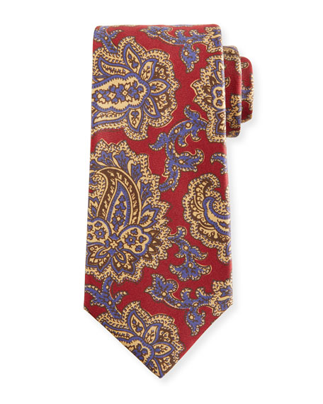 Vibrant Paisley Silk Tie, Red