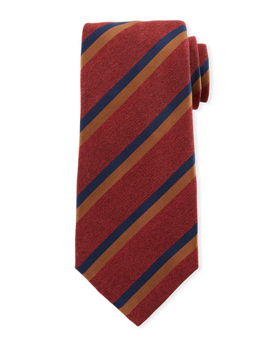 Two-Color Stripe Silk Tie, Red
