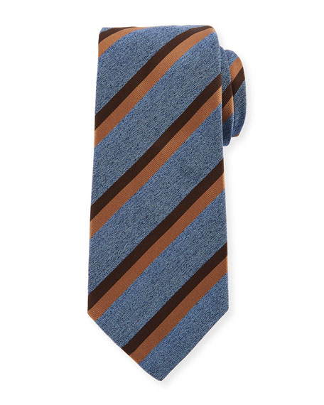 Two-Color Stripe Silk Tie, Blue