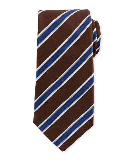 Kiton Framed Satin Stripe Tie, Brown
