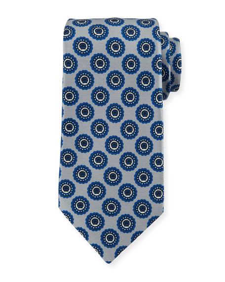 Kiton Circle Medallion Silk Tie, Gray
