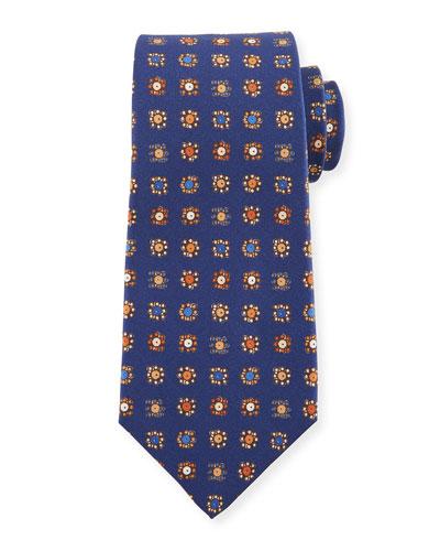 Circle in Box Medallion Silk Tie, Blue
