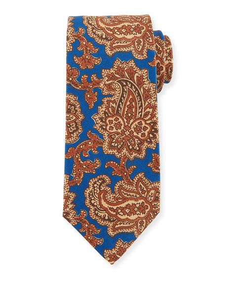 Vibrant Paisley Silk Tie, Blue