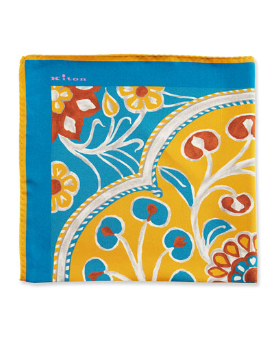 Large Floral Silk Pocket Square