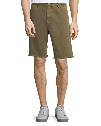 Men's Raw-Hem Twill Shorts with Rock-Climbing Rope Trim