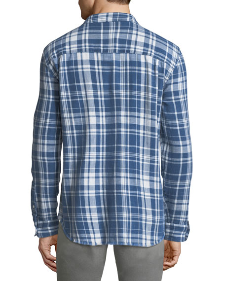 Frayed-Hem Plaid Shirt