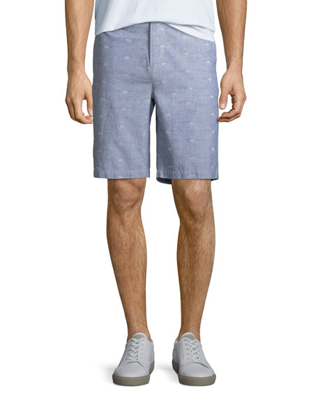 PAIGE Men's Thompson Dot-Pattern Cotton Shorts