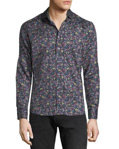 Men's Floral-Print Sport Shirt