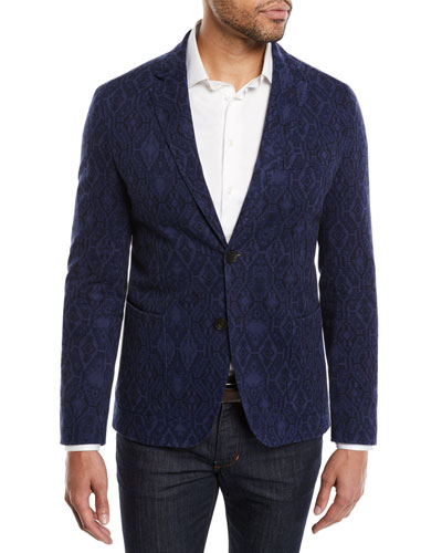 Men's Carpet-Jacquard Cotton Two-Button Blazer