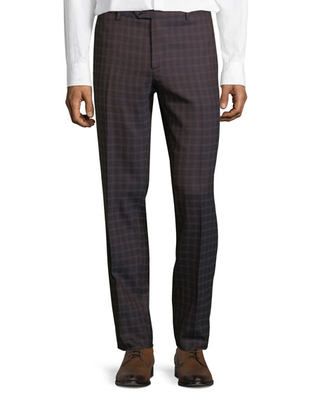 Men's Pindot Check Wool Dress Pants