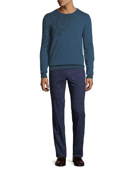 Men's Carpet-Print Straight-Leg Trousers