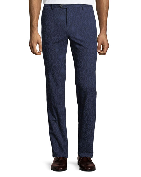 Men's Carpet-Print Straight-Leg Trousers