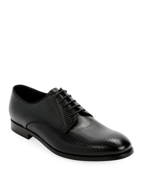 Giorgio Armani Men's Formal Patent Chevron Leather Lace-Up