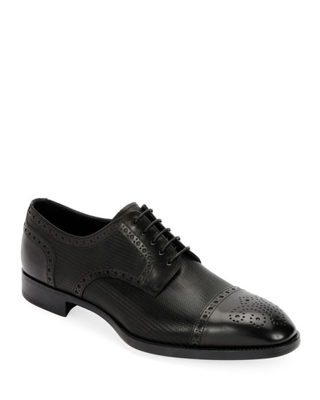 Giorgio Armani Men's Calf Leather Brogue Derby Shoe