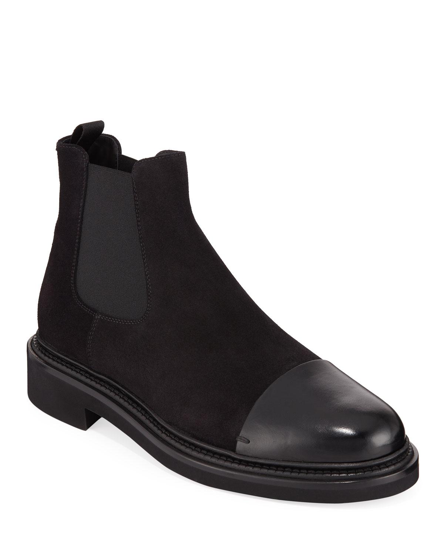 Giorgio Armani Boots Men's Vachetta Leather/Suede Chelsea Boots Armani fc2cd9