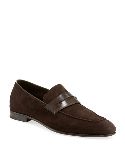Lasola Soft Suede Penny Loafer  Brown