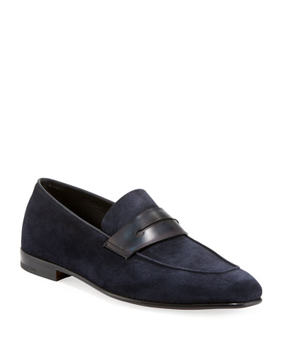 Lasola Soft Suede Penny Loafer, Navy
