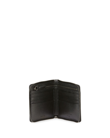 Men's XXX Embossed Bi-Fold Zip Wallet with Strap