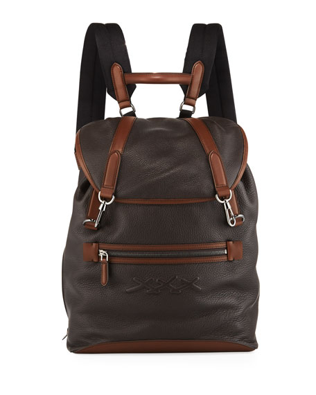 Men's Flap Calf Leather Backpack