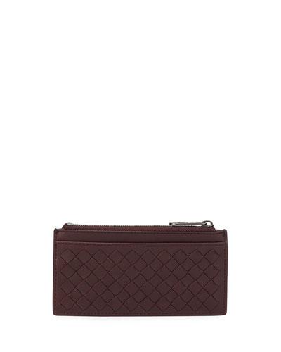 Men's Zip-Top Intrecciato Leather Card Case