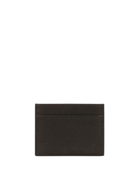 Tumbled Leather Credit Card Holder, Brown