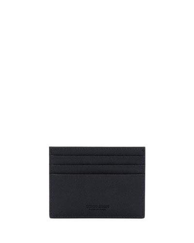 Tumbled Leather Credit Card Holder, Navy