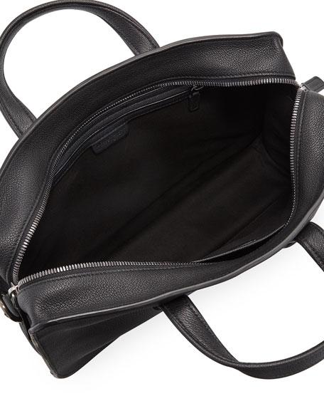 Men's Tumbled Calf Leather Briefcase, Black