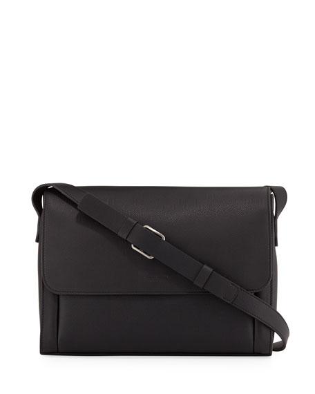 Giorgio Armani Men's Tumbled Leather Messenger Bag