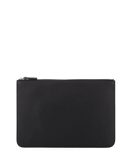 Men's Tumbled Leather Document Holder, Black
