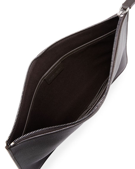 Men's Tumbled Leather Document Holder, Brown