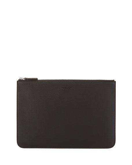 Giorgio Armani Men's Tumbled Leather Document Holder, Brown