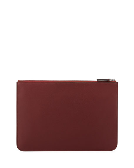 Men's Tumbled Leather Document Holder, Burgundy
