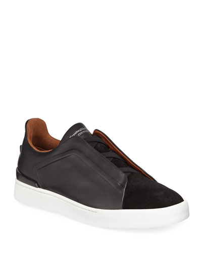 Men's Triple-Stitch Leather/Suede Low-Top Sneaker
