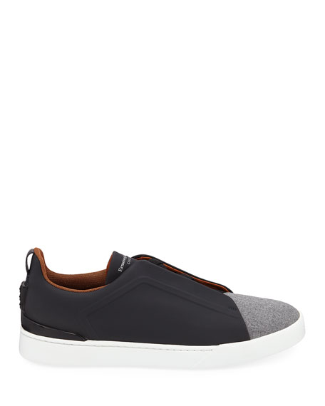 Men's Triple-Stitch Leather/Wool Low-Top Sneakers