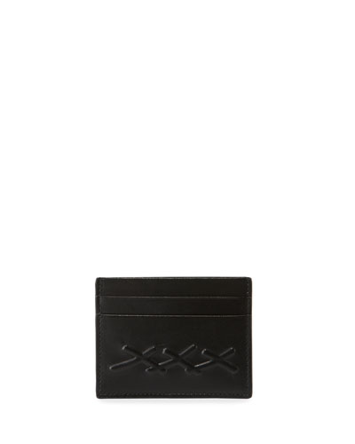 Men's XXX Embossed Leather Card Case