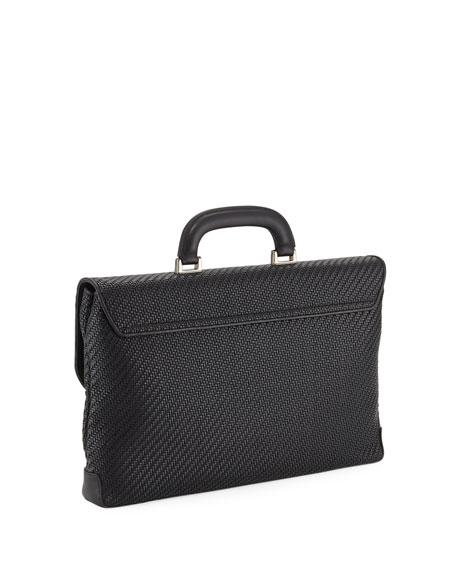Men's Pelle Tessuta Flat Briefcase Business Bag