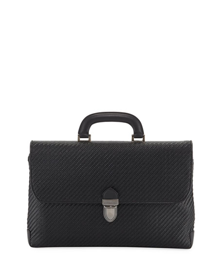 Ermenegildo Zegna Men's Pelle Tessuta Flat Briefcase Business