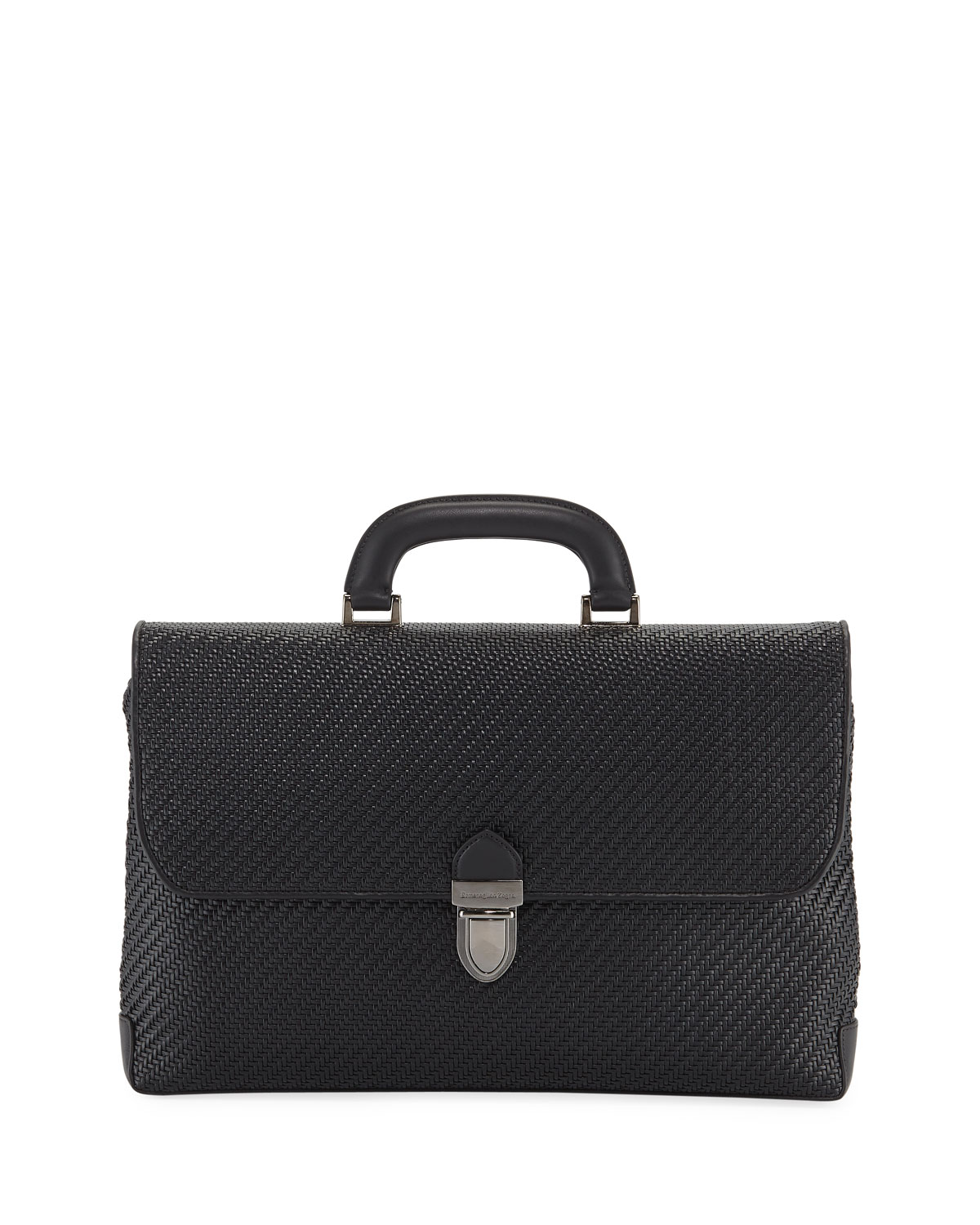 Ermenegildo Zegna Men s Pelle Tessuta Flat Briefcase Business Bag ... c87b5f379c