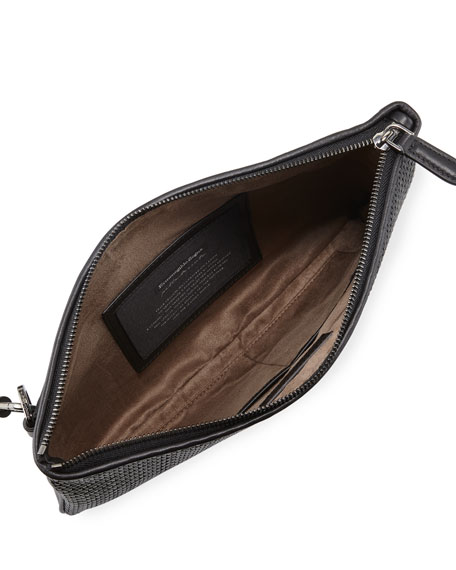 Men's Pelle Tessuta Zip-Top Pouch