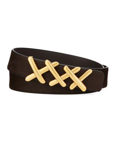 Men's XXX-Buckle Leather Belt