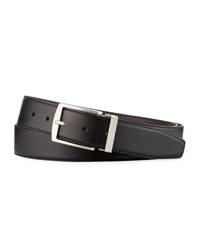 Men's Dual-Textured Leather Belt, Black/Brown