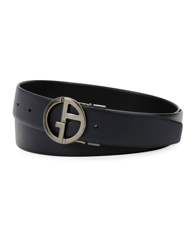 Men's Logo-Buckle Vitello Leather Belt