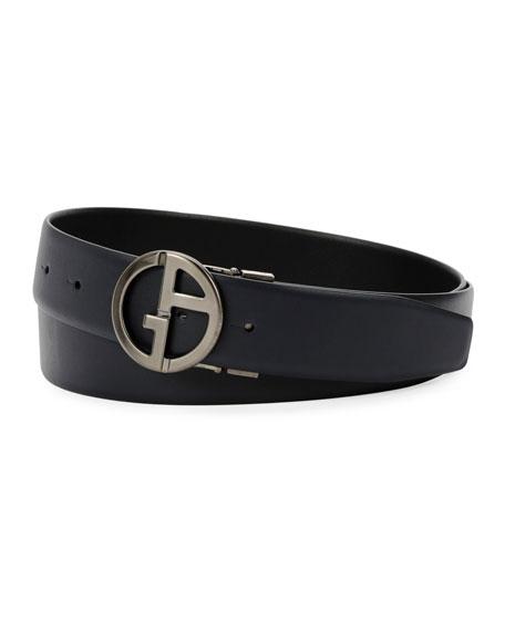 Men's Logo-Buckle Vitello Leather Belt